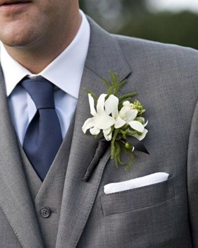 Groomsmen grey tux grey vest ivory shirt and blue tie for Navy suit gray shirt