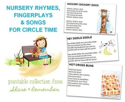 Nursery Rhymes, Fingerplays and Songs/ Printables