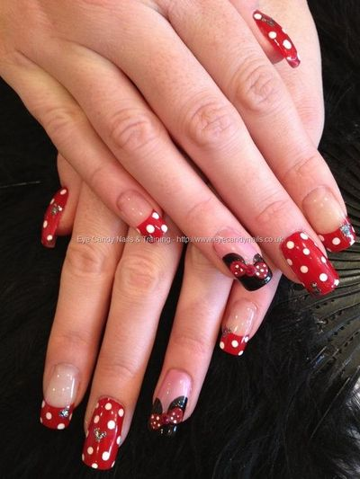 Minnie Mouse Disney Freehand Nail Art With Red And White Pol