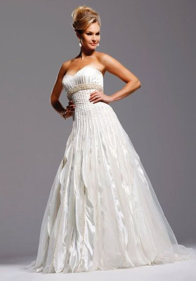 A-Line Sweetheart Floor Length Attached Satin/ Tulle Beading Wedding Dress Style Gwenyth