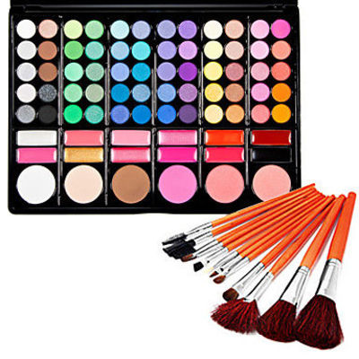 Silky 78 Colors Makeup Eye Shadow Palette and Blushers ( Free Brushes)