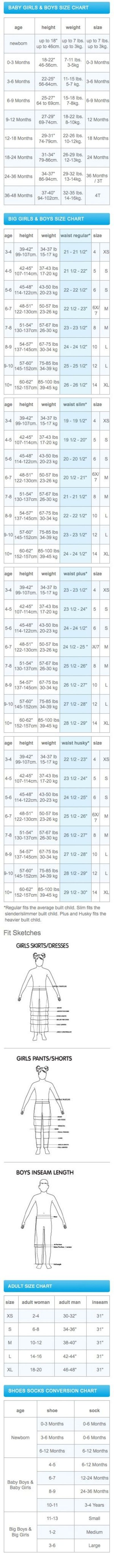 Size chart for babies