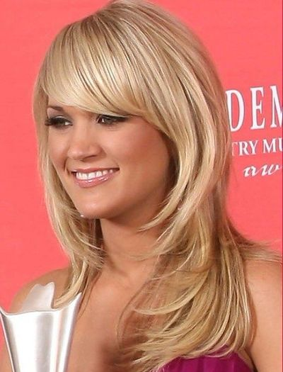 Face framing layers with side swept bangs haircut / hair tips ...