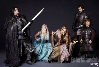 EW photo shoot Game of Thrones and Air Guitar