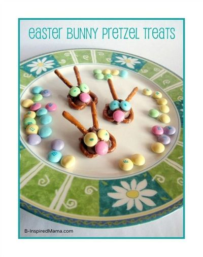 Need a fun and creative Easter treat easy enough for the kids to help make? Try these cute Easter Bunny Pretzel Treats from B-InspiredMama.com!