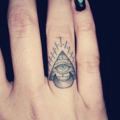 All seeing eye pyramid and crescent moon finger tattoo for Eye finger tattoo