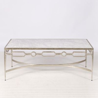 grace silver leaf table and marble coffee table