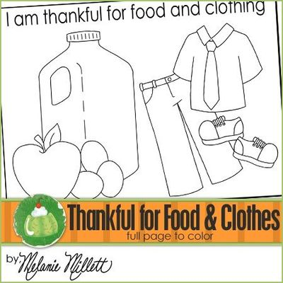 church coloring pages : I am Thankful for Food and Clothing