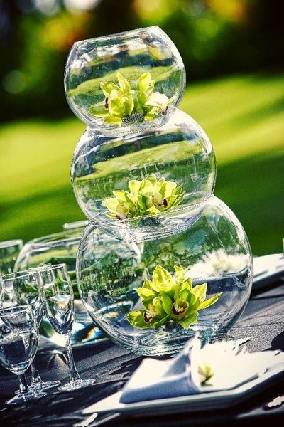 Lovely centerpiece made from stacked fish bowls #birthday ...