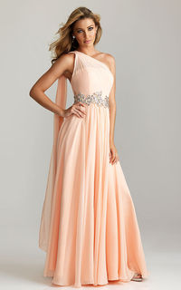 Night Moves 6758 by Allure Peach One-shoulder Prom Dress