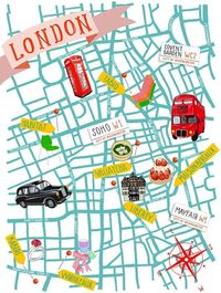 illustrated map by Krisatomic of her favourite spots in London