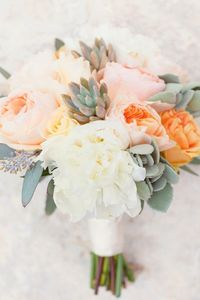 Peony + succulent bouquet   The Sweetest Occasion