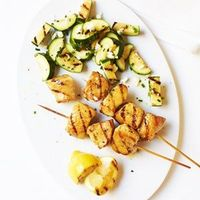 Lemony Chicken Kebabs with Zucchini Salad