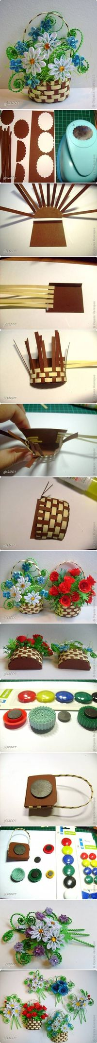 diy, nice, paper, flower, basket