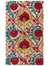 Seville Hand-Tufted Rug in mustard, turquoise and red. Some of my favorite colors