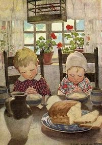 Prayer before meals ~ Jessie Willcox Smith, 1920's