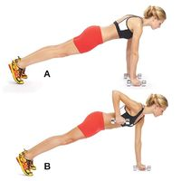 Pushup Row w/ Core Hold: Get into pushup position with your arms straight and your hands resting on dumb-bells, feet slightly wider than hip-width apart (A). Brace your abs as you pull one dumbbell toward your body until your elbow is above your b...