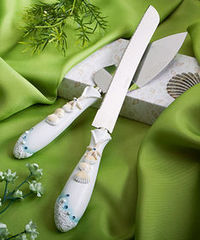 FashionCraft 2417 Finishing Touches Collection Beach Themed Wedding Cake Knife and Server Set