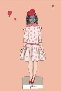 Valentine Paper Doll printable with your child's face. Donate what you want--the artist sends it to charity.