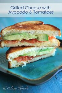Grilled Cheese with Avocado & Tomatoes.