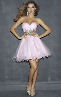 Pink A-line Tulle Short Homecoming Dress With Sparkly Waist