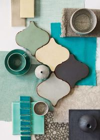 color palette - blues, charcoal, beige,