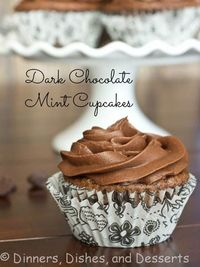 Dark Chocolate Mint Cupcakes by Dinners Dishes and Desserts