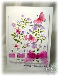 StitchyStamper: Bright and Beautiful Blooms....cute fence and ribbon