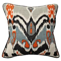 Ikat Print Linen Throw Pillow