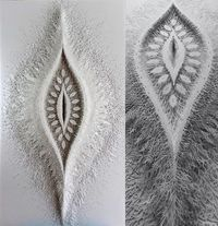 Artist Rogan Brown spends upward of five months cutting one of his organic forms from dozens of sheets of paper.