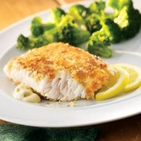 Potato-Crusted Fish and Fresh Broccoli