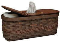 "A great basket for the bathroom, it does double duty, holding a boutique tissue box in the center and spare toilet tissue rolls under the hinged side lids. It is 6-1/2"" x 17-1/4"" x 7-1/4"" and will fit perfectly on the tank. It is a great way t..."