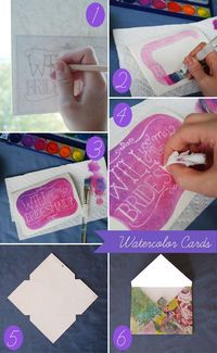 DIY | Watercolor 'Will You Be My Bridesmaid?' Cards | Glamour & Grace