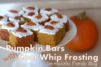 Simmworks Family Blog: Delicious Pumpkin Bars with Cool Whip Frosting #CoolWhipFrosting {Pumpkin Recipe}