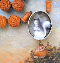 Squirrel Necklace Ceramics squirrelwooden by LaCapraCanta on Etsy, $153.00