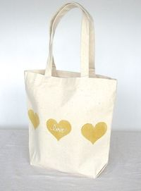 """Canvas Tote Bag - Gold Heart with White """"love"""" 13""""x 13"""" Tote Bag. $16.00, via Etsy."""
