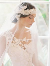 Wedding Dress�€�: Claire Pettibone 'Adagio' | �€��€ŽBridal�€� Headpiece & Veil: Erica Elizabeth Designs photographed by Caroline Tran Photography, featured on Green Wedding Shoes Click here to see more of Adagi...