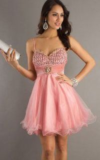 Pink Spaghetti Strap Jeweled Top Babydoll Short Dresses