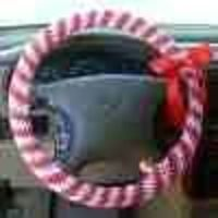 Crochet Candy Cane Steering Wheel Cover | FaveCrafts.com