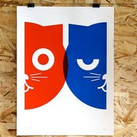 Print Poster - Dueling Watson the Cat - Hand Screen Printed - Limited Edition of 50