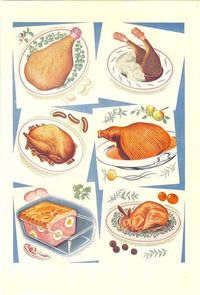 Meat Entrees, Vintage Color Illustration