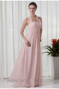 Sheath/Column Halter Floor Length Chiffon Backless Pink Prom Dress with Ruched/Draped