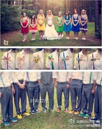 rainbow bridesmaid dress�