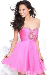 Pink Mini Dress Keyhole Cutout With Multicolored Beadwork