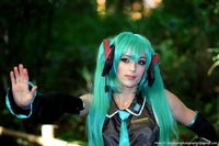 Vocaloid Miku Cosplay. I like her beautiful cosplay wig:)