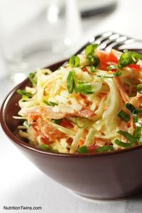 Almond Coleslaw! Our new obsession :). We make several variations of this and have been eating it every night, yum!