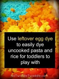 Do you always wonder if there is something better to do with leftover dye than pour it down the drain? How about using it to dye pasta & rice to make a sensory bin for your kids?