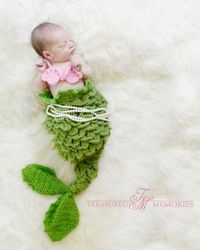 PDF Crochet Pattern Mermaid Tail - Cocoon or Tail - 0-6 Months - With Seashell Top. $5.90, via Etsy.