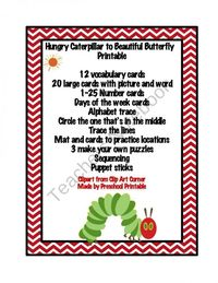 Hungry Caterpillar to Beautiful Butterfly Printable product from Preschool-Printable on TeachersNotebook.com