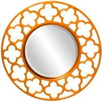 Gaelic Round Wall Mirror in Orange